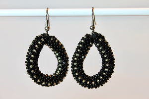 Knitted Hoop Earrings - Black & Clear
