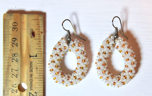 Knitted Hoop Earrings - White & Gold