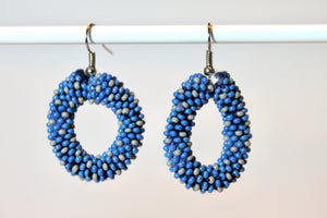 Knitted Hoop Earrings - Blue & Gray