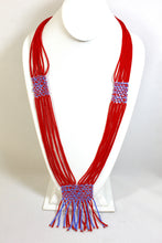 Load image into Gallery viewer, Geometric Necklace - Bright Red & Light Blue