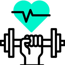 A graphic illustration of a hand holding a weight with a turquoise heart and heart beat lines across it.
