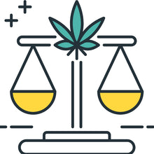 A graphic illustration of a stand holding two beakers with yellow coloring. A hemp leaf is in the middle of the stand.