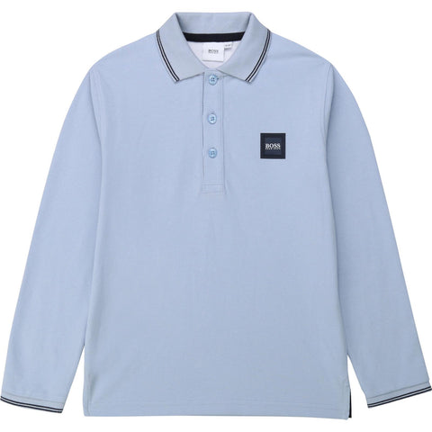 BOSS Boys Long Sleeve Blue Polo