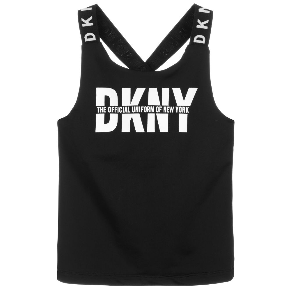 DKNY Black & White Logo Vest Top