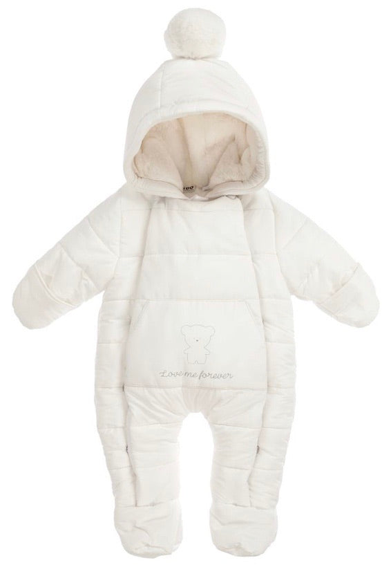 IDO white padded baby snowsuit