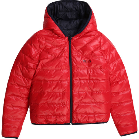 BOSS Boys Reversible Red & Navy Coat
