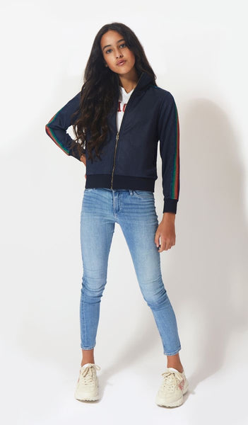 Zadig & Voltaire Girls Blue Jersey Zip-Up Top