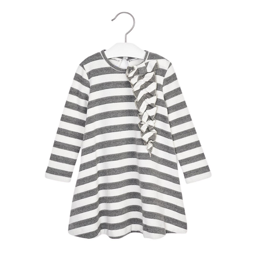 Mayoral Grey and White Stripe Dress