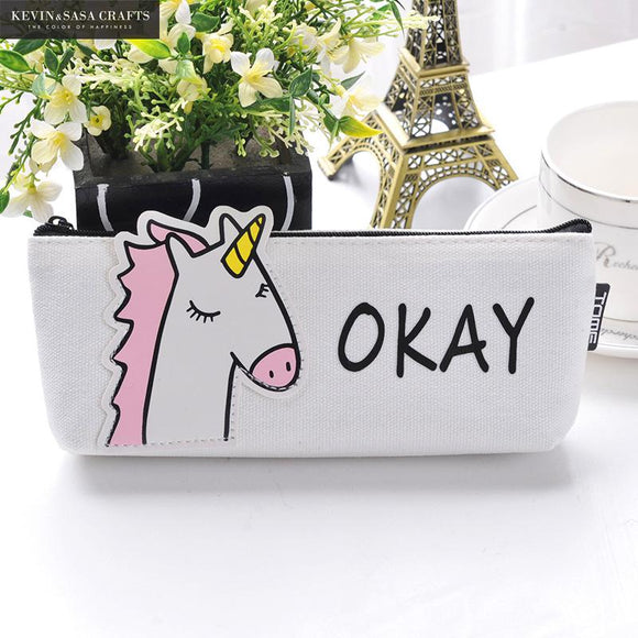 Unicorn Pencil Case Canvas School Supplies Stationery Gift Students Cute Pencil Box
