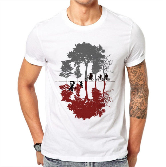 100% Cotton Men T Shirts Fashion Creative Design Short Sleeve Casual Tops Landscape Reflection Printed White T-Shirt Cool Tee