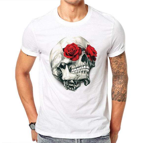 100% Cotton Harajuku Men T Shirts Fashion Red Rose Floral Skull Design Short Sleeve Casual Flower Skull Printed T-Shirt Tee Top