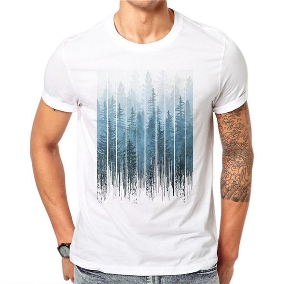 100% Cotton Mist Forest Men 3D Print T Shirt Summer  Creative Design Casual Tees Tops Male Short Sleeve T-shirt