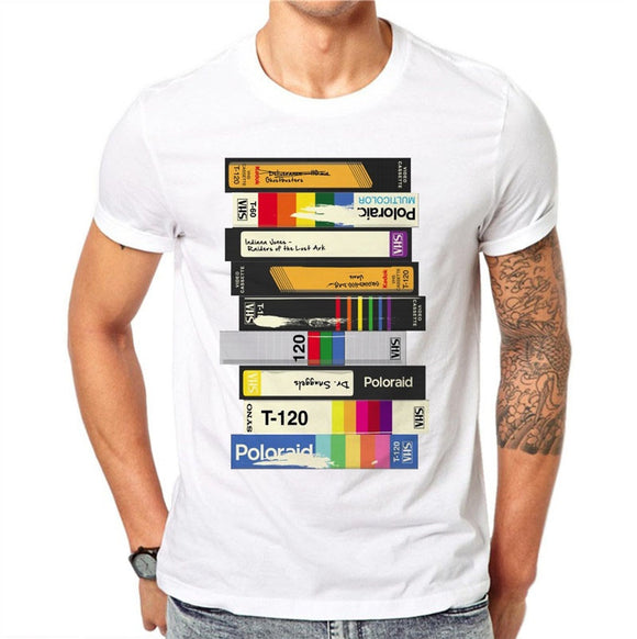 100% Cotton Audio Cassette 3D Printed Men T Shirts Fashion Short Sleeve Casual Tops Retro T-Shirt White Tee Summer Fashion