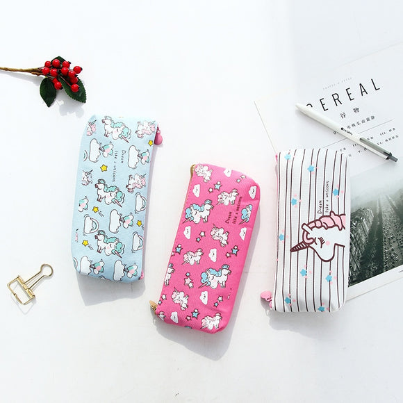 Kawaii Pencil Case Unicorn Flamingo Canvas Gift