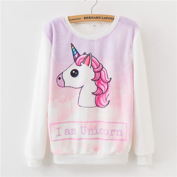 Women Hoodies 2018 Autumn Winter Sweatshirts Cartoon Kawaii Pink Unicorn Print