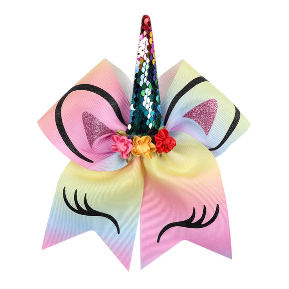 Sequin Unicorn Cheer Bows With Rubber Band For Girls