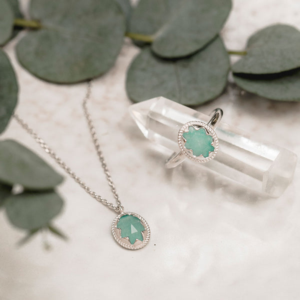 Set: Ring & Kette Moonchild | Chrysoprase Stone