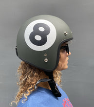 Load image into Gallery viewer, Cooler King Helmet - Lucky 8 Ball - Matt Slate Grey - Black Lined