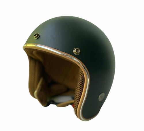 Cooler King Helmet - Matt Black - Tan Lined