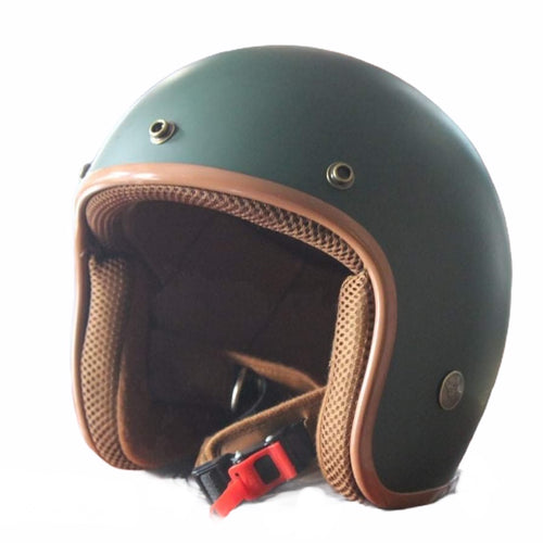 Cooler King Helmet - Matt Green - Tan Lined