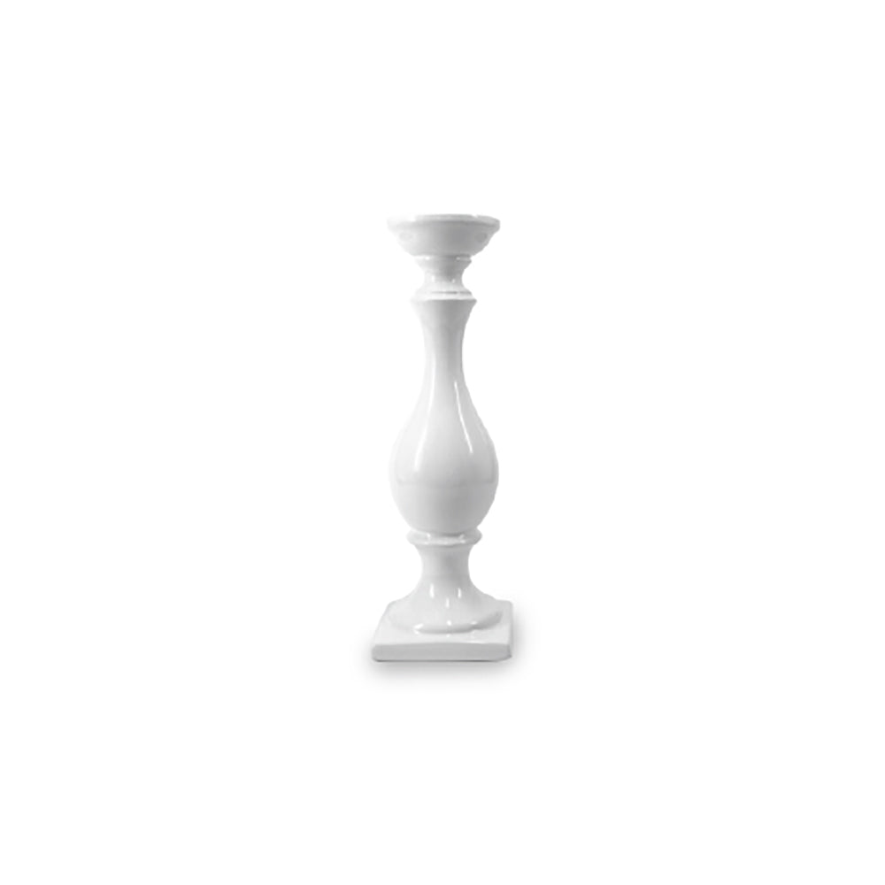 CANDLESTICK - CERAMIC - GLOSS WHITE 31CM