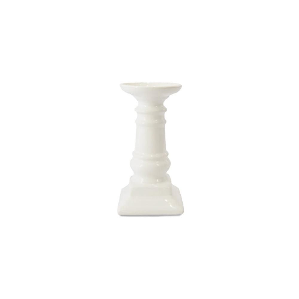 CANDLESTICK - CERAMIC - PILLAR CANDLE HOLDER - MATTE WHITE 17CM X 8CM