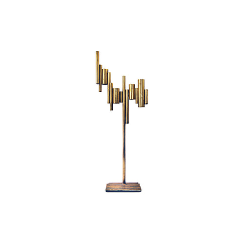 CANDELABRA - TUBULAR ANTIQUE GOLD 53CM x 20CM