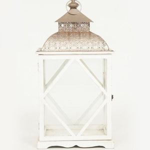 LANTERN - WHITE AND SILVER - MEDIUM 44CM X 24CM