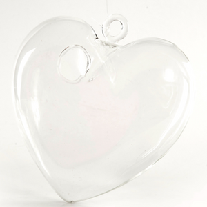 HANGING GLASS HEART  13CM X 13CM