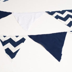 BUNTING - NAVY AND WHITE  CHEVRON