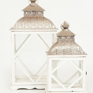 LANTERN - WHITE AND SILVER -  LARGE 63CM X 33CM