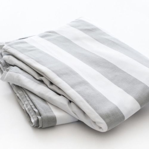 TABLE CLOTH - STRIPE - GREY & WHITE  3M X 3M
