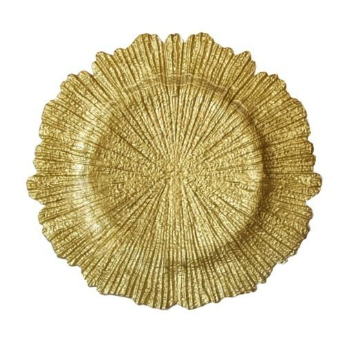 CHARGER PLATE - TEXTURED GLASS - BRASS