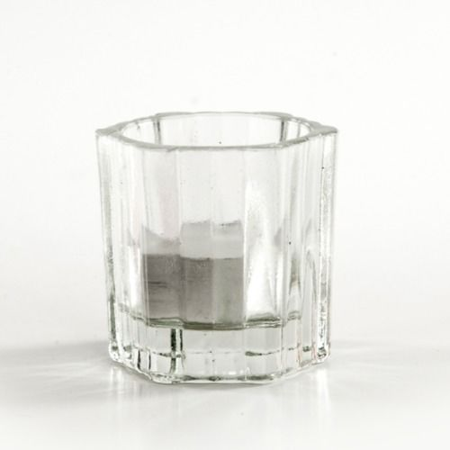 VOTIVE HOLDER - GLASS RIDGE 6CM X 6CM