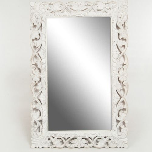 FRAME - WHITEWASH CARVED WOOD WITH MIRROR