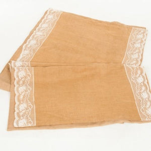 AISLE RUNNER - HESSIAN AND LACE  10M X 1.2M