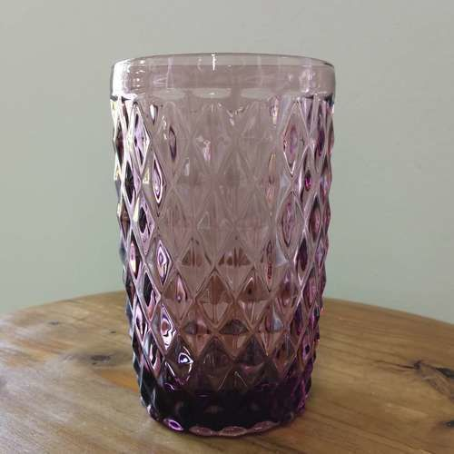GLASSWARE - TEXTURED - TUMBLER - PLUM
