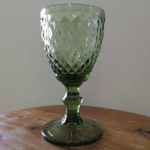 GLASSWARE - TEXTURED - WINE GLASS - GREEN