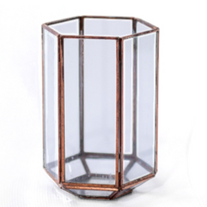 LANTERN - COPPER HEXAGON, MEDIUM 17CM X 11CM