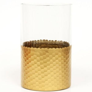 LANTERN - GOLD AND GLASS CYLINDER, MEDIUM 20CM X 13CM