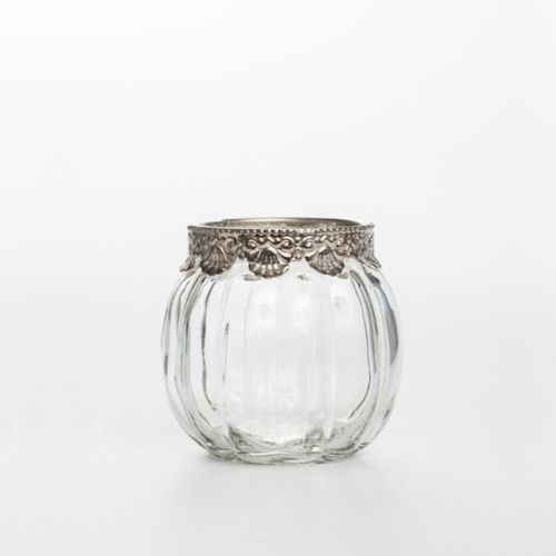 GLASS VASE - PUMPKIN SILVER TRIM 8CM X 8CM