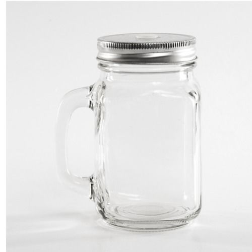 GLASS JAR - MUG WITH HANDLE 13CM X 8CM (350ML)