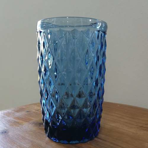 GLASSWARE - TEXTURED - TUMBLER - BLUE