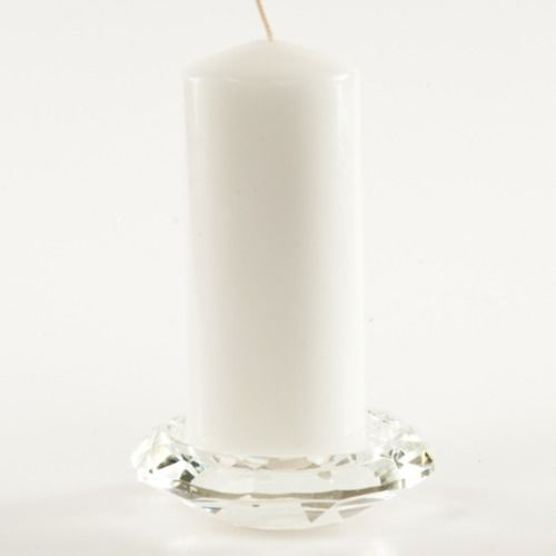 CANDLE TRAY - CRYSTAL 11CM WIDE (EXCL CANDLE) CANDLE WIDTH 8CM OR LESS