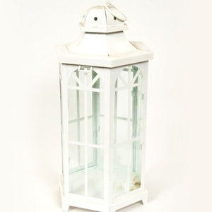 "LANTERN - WHITE METAL - ""WINDOW DETAIL"" 55CM X 25CM"