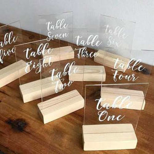 TABLE NUMBER - PERSPEX WITH WOODEN BASE