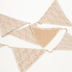 BUNTING - HESSIAN WITH LACE OVERLAY 3M
