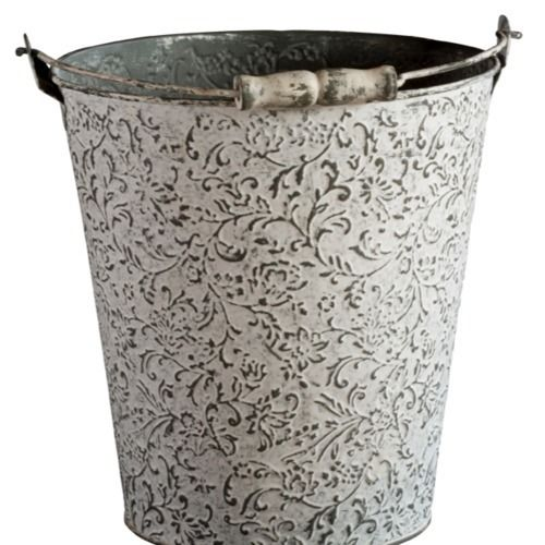 BUCKET - CONFETTI - WHITEWASH METAL MEDIUM 25CM X 25CM