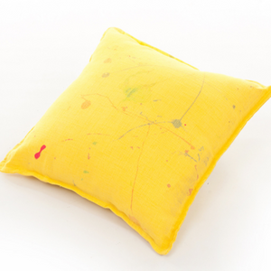 SCATTER CUSHION - YELLOW - PAINT SPLATTER 50CM X 50CM