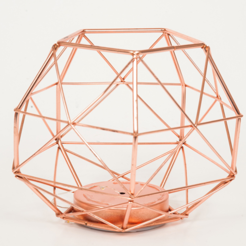GEO SHAPE - INCL LED LIGHTS - COPPER (EXCL. BATTERIES) 15CM X 18CM